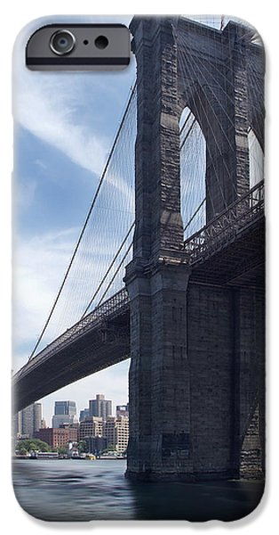 Hudson River Digital iPhone Cases - Brooklyn Bridge iPhone Case by Mike McGlothlen