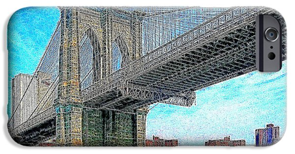 Brooklyn Bridge Digital Art iPhone Cases - Brooklyn Bridge New York 20130426 iPhone Case by Wingsdomain Art and Photography