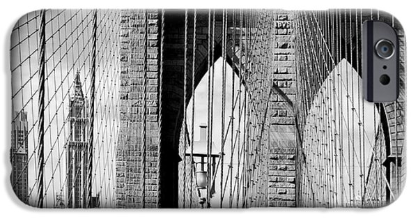 Statue iPhone Cases - Brooklyn Bridge New York City USA iPhone Case by Sabine Jacobs