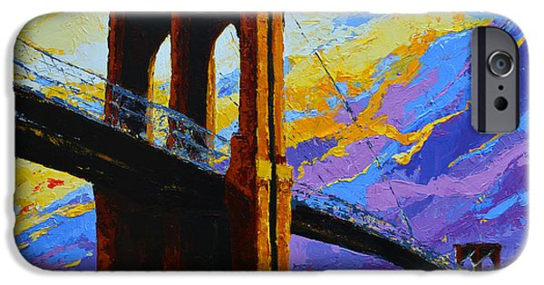 Escape Paintings iPhone Cases - Brooklyn Bridge New York Landmark iPhone Case by Patricia Awapara