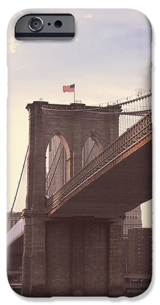 American Flag iPhone Cases - Brooklyn Bridge New York iPhone Case by Pretty Perfect Phone Cases