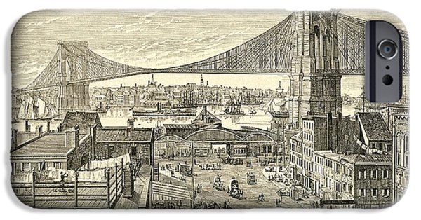 19th Century iPhone Cases - Brooklyn Bridge, New York, United States Of America In The 19th Century.  From El Museo Popular iPhone Case by Bridgeman Images