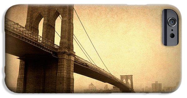 Brooklyn Bridge Digital iPhone Cases - Brooklyn Bridge Nostalgia II iPhone Case by Jessica Jenney
