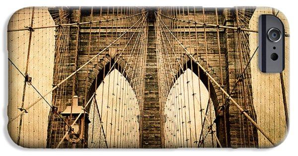 Brooklyn Bridge Digital iPhone Cases - Brooklyn Bridge Nostalgia iPhone Case by Jessica Jenney