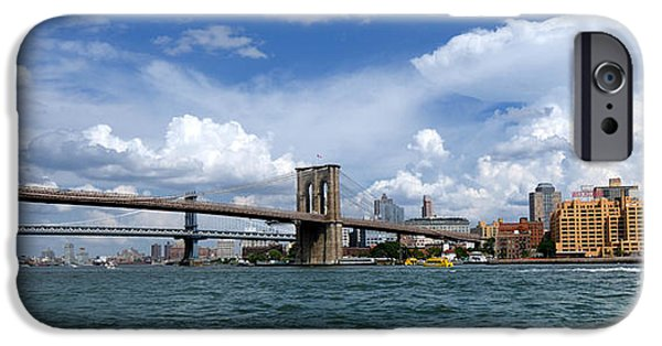 Landmarks Photographs iPhone Cases - Brooklyn Bridge Panorama iPhone Case by Amy Cicconi