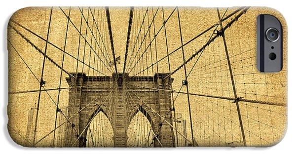 Flag iPhone Cases - Brooklyn Bridge Postcard II iPhone Case by Jessica Jenney