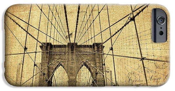 Famous Bridge iPhone Cases - Brooklyn Bridge Postcard iPhone Case by Jessica Jenney
