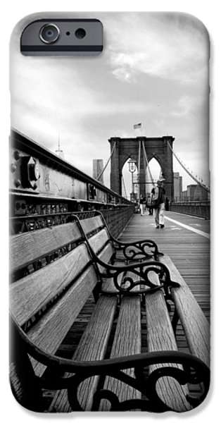 Brooklyn Bridge Digital iPhone Cases - Brooklyn Bridge Promenade iPhone Case by Jessica Jenney