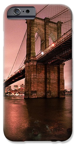 Brooklyn Bridge - Red morning iPhone Case by Gary Heller