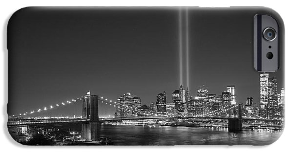 Twin Towers Nyc iPhone Cases - Brooklyn Bridge September 11 bnw iPhone Case by Michael Ver Sprill