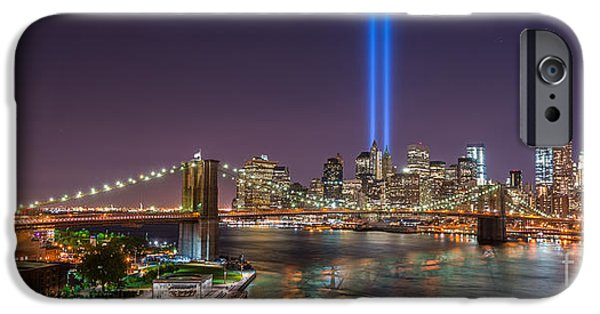 Manhatan iPhone Cases - Brooklyn Bridge September 11 iPhone Case by Michael Ver Sprill