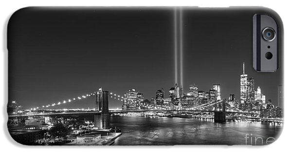 Manhatan iPhone Cases - Brooklyn Bridge September 11 wide crop bnw iPhone Case by Michael Ver Sprill