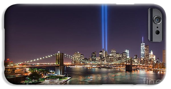 Manhatan iPhone Cases - Brooklyn Bridge September 11 wide crop iPhone Case by Michael Ver Sprill