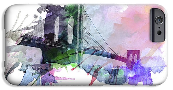 Brooklyn Bridge Mixed Media iPhone Cases - Brooklyn Bridge iPhone Case by Stefan Kuhn
