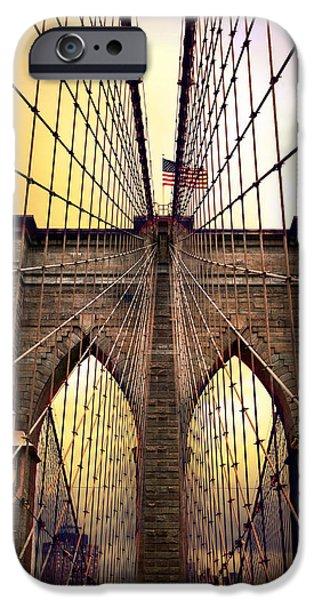 Brooklyn Bridge Digital iPhone Cases - Brooklyn Bridge Sunrise iPhone Case by Jessica Jenney