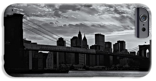 Scenery iPhone Cases - Brooklyn Bridge Sunset BW iPhone Case by Susan Candelario