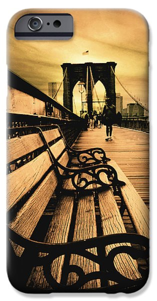 Famous Bridge iPhone Cases - Brooklyn Bridge Sunset iPhone Case by Jessica Jenney