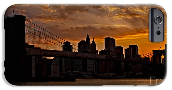 Manhattan iPhone Cases - Brooklyn Bridge Sunset iPhone Case by Susan Candelario
