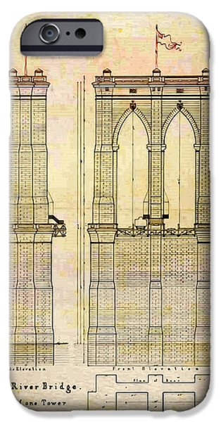 Brooklyn Bridge Digital Art iPhone Cases - Brooklyn Bridge Tower One Plans iPhone Case by Digital Reproductions
