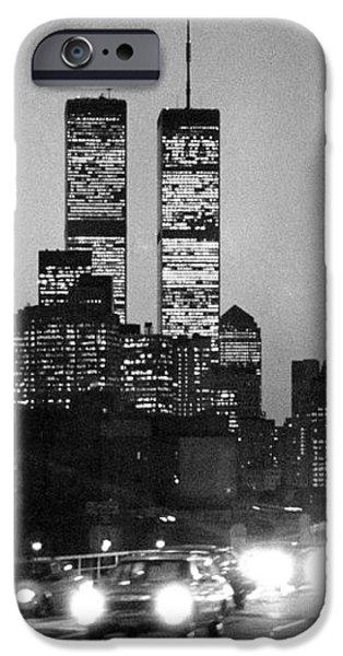 Brooklyn Bridge traffic II dusk 1980s iPhone Case by Gary Eason