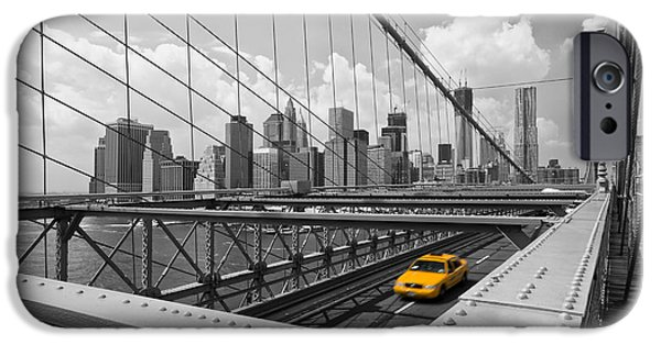 Brooklyn Bridge Digital Art iPhone Cases - Brooklyn Bridge View NYC iPhone Case by Melanie Viola