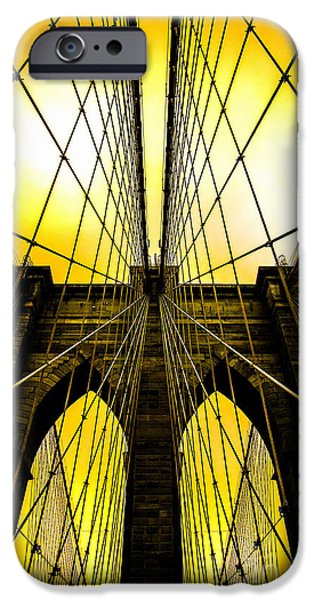 Looking Digital Art iPhone Cases - Brooklyn Bridge Yellow iPhone Case by Az Jackson
