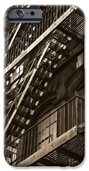 Escape iPhone Cases - Brooklyn Fire Escapes iPhone Case by Diane Diederich