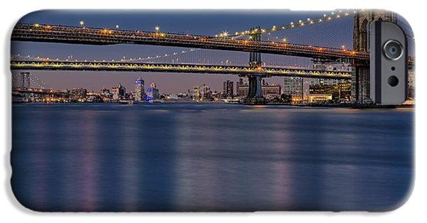 America iPhone Cases - Brooklyn Manhattan and Williamsburg Bridges NYC iPhone Case by Susan Candelario