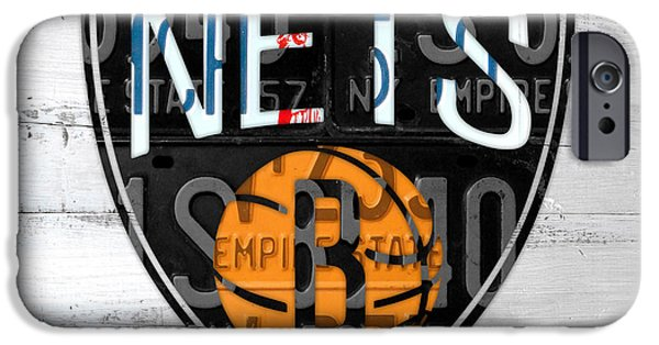 Basketball Team iPhone Cases - Brooklyn Nets Basketball Team Retro Logo Vintage Recycled New York License Plate Art iPhone Case by Design Turnpike