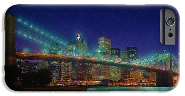 Dirty iPhone Cases - Brooklyn Suspension Bridge Panoramic View iPhone Case by Don Kuing