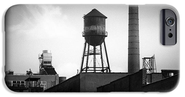 Industrial Icon iPhone Cases - Brooklyn Water Tower and SmokeStack - Black and White Industrial Chic iPhone Case by Gary Heller
