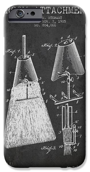 Technical iPhone Cases - Broom Attachment Patent from 1905 - Charcoal iPhone Case by Aged Pixel