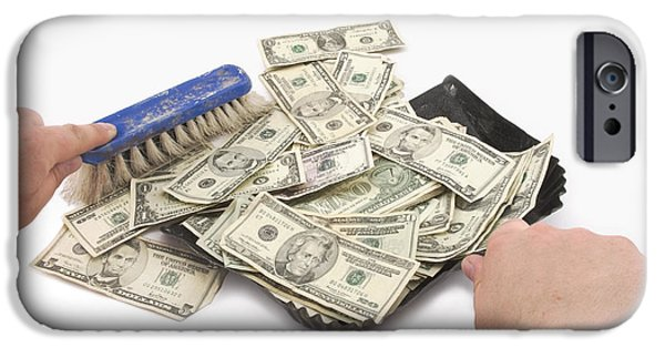 Business Digital Art iPhone Cases - Broom Sweeping Up American Money iPhone Case by Keith Webber Jr