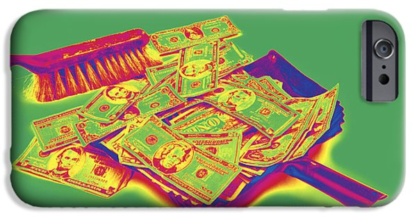 Business Digital Art iPhone Cases - Broom Sweeping Up American Money Pop Art iPhone Case by Keith Webber Jr