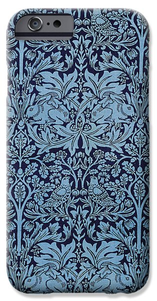 Wallpaper Tapestries - Textiles iPhone Cases - Brother Rabbit iPhone Case by William Morris