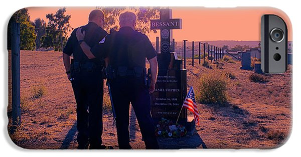 Police iPhone Cases - Brothers in Blue at Sunset iPhone Case by Loretta Jean Photography