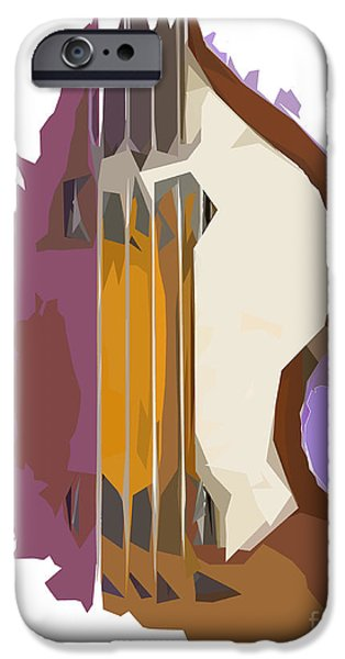 Hofner iPhone Cases - Brown Bass Purple Background 2 iPhone Case by Pablo Franchi