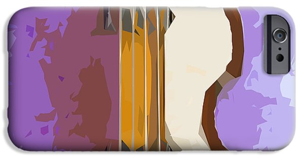 Hofner iPhone Cases - Brown Bass Purple Background 5 iPhone Case by Pablo Franchi