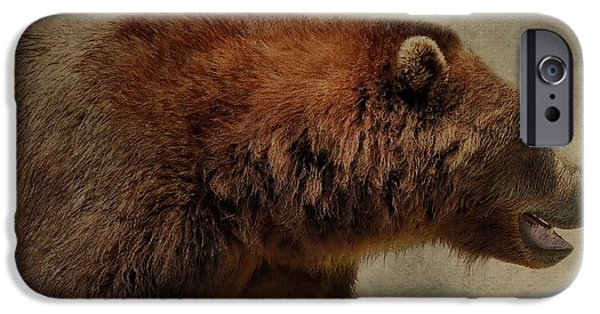 Kodiak iPhone Cases - Brown Bear Hunting iPhone Case by Dan Sproul