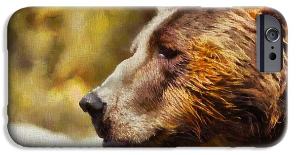 Kodiak iPhone Cases - Brown Bear Painting iPhone Case by Dan Sproul