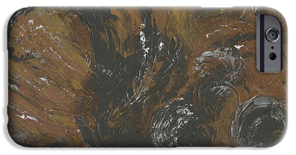 Multimedia Paintings iPhone Cases - Brown Color of Energy iPhone Case by Ania Milo