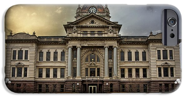 Snowy iPhone Cases - Brown County Courthouse iPhone Case by Thomas Zimmerman