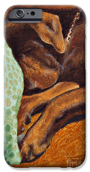 Puppy Pastels iPhone Cases - Brown Dog iPhone Case by Tracy L Teeter