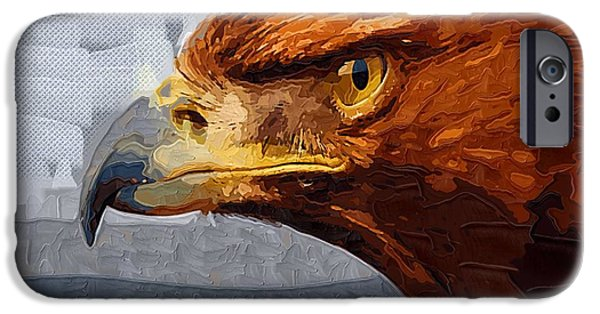 American Eagle Paintings iPhone Cases - Brown Eagle iPhone Case by Victor Gladkiy