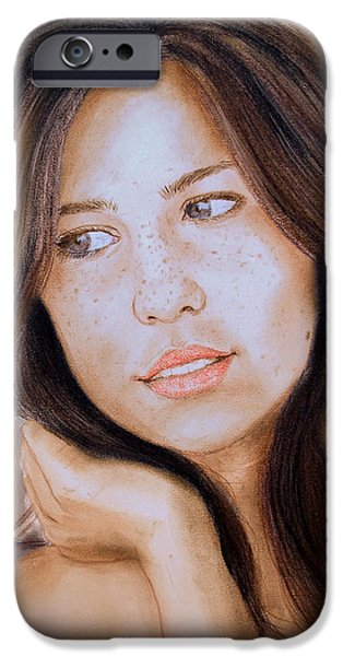 Beauty Mark Digital iPhone Cases - Brown Haired and Lightly Freckled Beauty Fade to Black Version iPhone Case by Jim Fitzpatrick