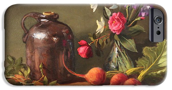 Smithsonian Paintings iPhone Cases - Brown Jug Floral iPhone Case by Brenda Sumpter