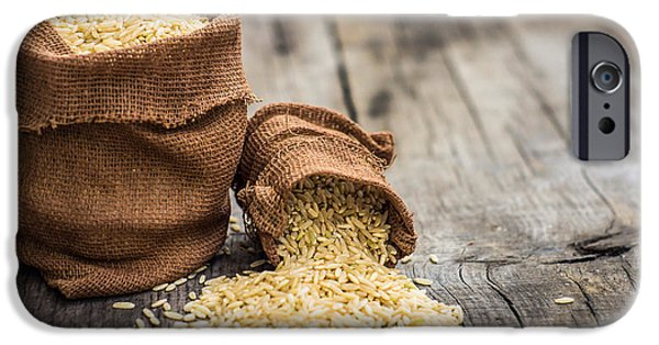 Crops iPhone Cases - Brown rice bags iPhone Case by Aged Pixel