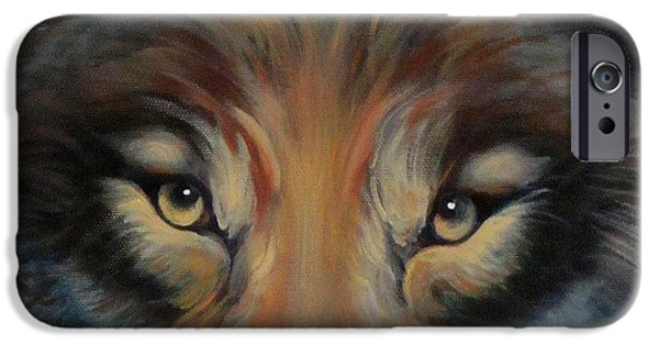 Puppy Digital Art iPhone Cases - Brown Timber Wolf Face iPhone Case by Jean R Brown