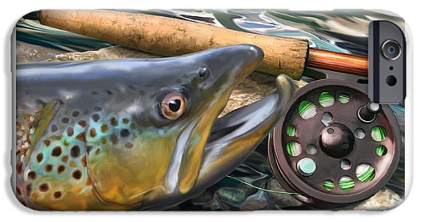 Atlantic iPhone Cases - Brown Trout Sunset iPhone Case by Craig Tinder