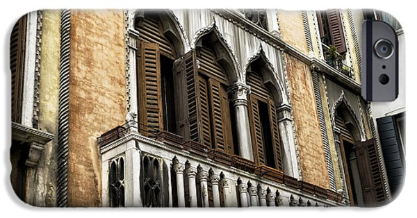 Venetian Balcony iPhone Cases - Brown Window Shutters in Venice iPhone Case by John Rizzuto